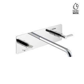 3-hole wall-mounted wash basin group, single cover plate, without pop-up waste set.