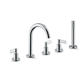 5-hole complete set of: deck mounted mixer spout, divert, complete shower set.