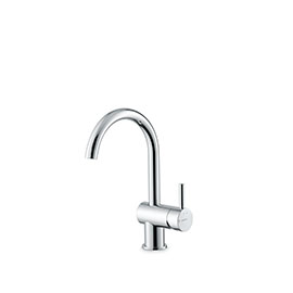 Single lever basin mixer without pop-up waste set.
