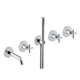 Concealed bath group consisting of: 2 way out diverter, wall spout and shower set.