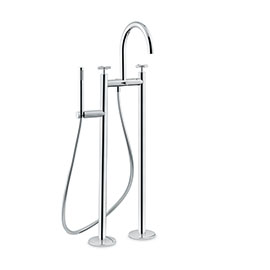 Bathgroup with floor pillar unions, automatic diverter, LL. 150 cm flexible and hand shower.