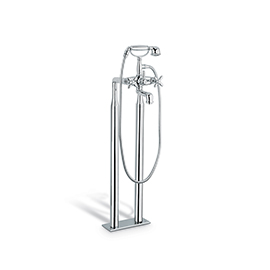 Bathgroup with floor pillar unions with automatic diverter, 150 cm. flexible, hand shower.