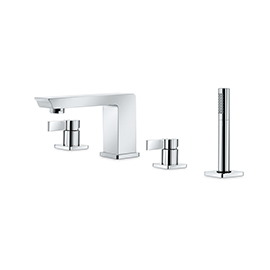 Complete set of: deck mounted mixer, spout, diverter and complete shower set