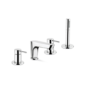 Complete set of: deck mounted mixer, spout with diverter, complete brass hand shower set