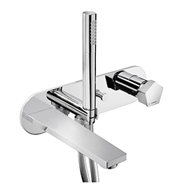 Wall mounted bath group consisting of: single-lever bath mixer, automatic diverter, wall spout. With concealed parts.