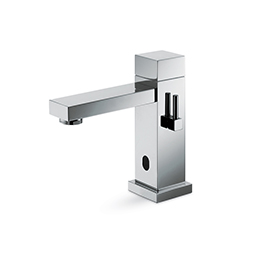 Wash basin tap with manually-adjustable mixing device by stop valves included