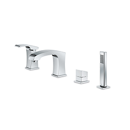 Complete set of: deck mounted mixer, spout with diverter, complete hand shower set