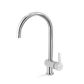 Single-lever sink mixer with round swivel spout