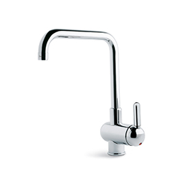 Single-lever sink mixer, squared and tubular swivel spout