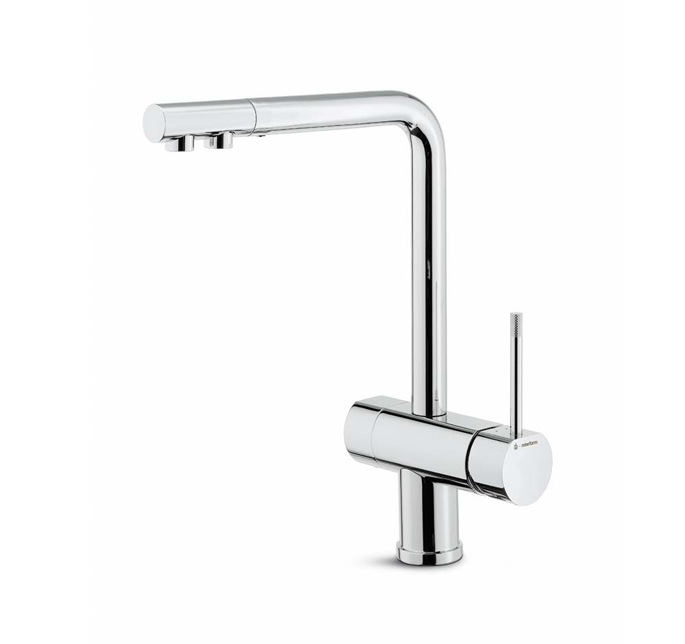 Single-lever sink mixer, diam.28 mm swivel spout with double flow for pure water