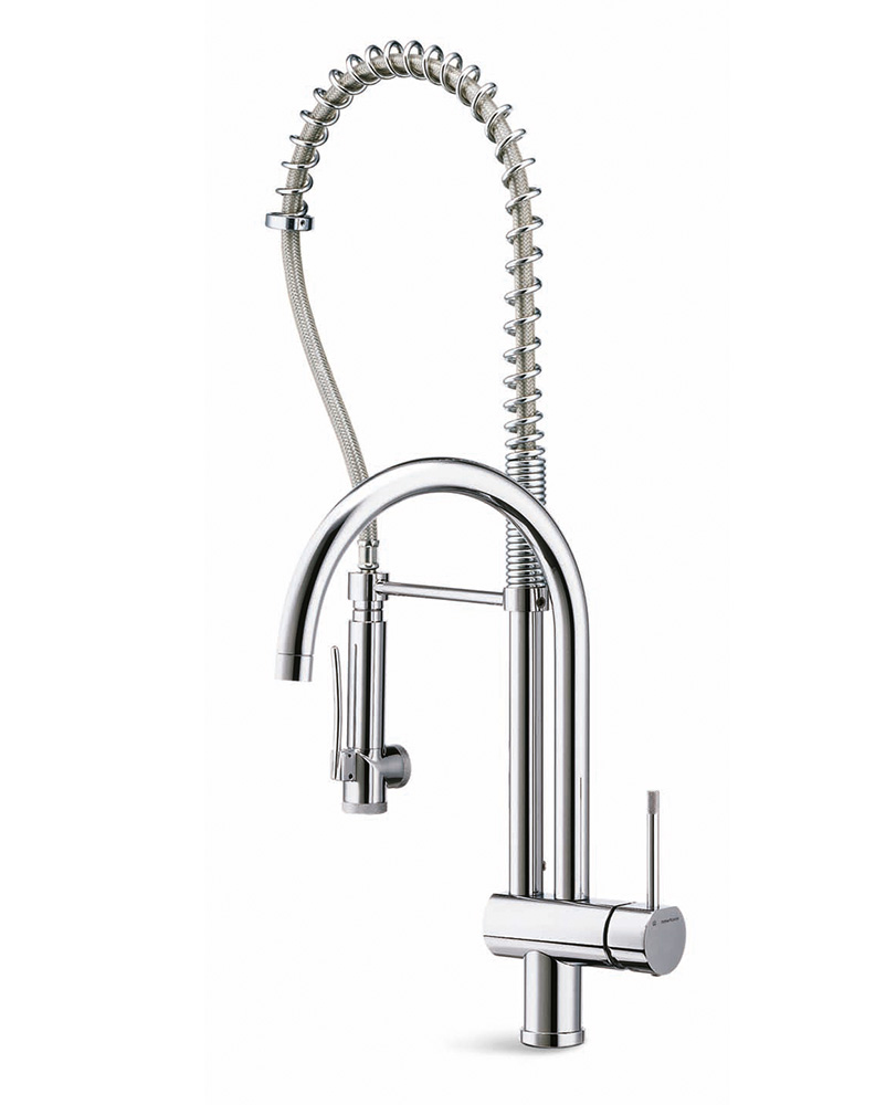 Single-lever mixer for 1-hole sink, with two swivel spouts and dishwashing shower hand with stop