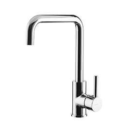 Single-lever sink mixer with squared swivel spout
