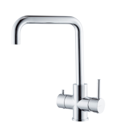 Complete set consisting of single-lever sink mixer with swivel spout and dishwashing hand shower with stop.