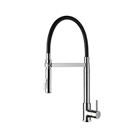 Single-lever sink mixer with swivel and adjustable spout