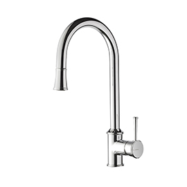 Single-lever sink mixer with swivel spout and double jet pull-out hand shower