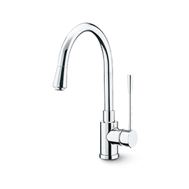 Single-lever sink mixer with high swivel spout and pull-out hand shower