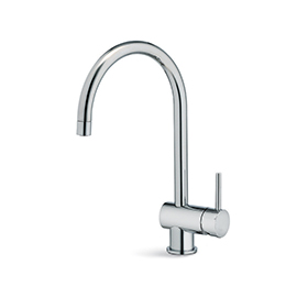 Single-lever sink mixer, round and tubular swivel spout
