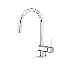 Single-lever sink mixer, round and tubular swivel spout, with pull-out hand shower
