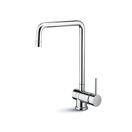 Single-lever sink mixer with swivel, folding and squared spout