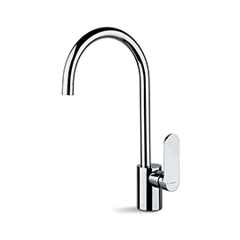 Single-lever sink mixer, round swivel spout