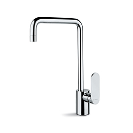 Single-lever sink mixer, squared swivel spout