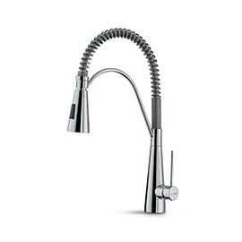 Single-lever sink mixer with swivel and adjustable spring
