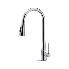Single-lever sink mixer with swivel and round spout and with double jet pull-out hand shower