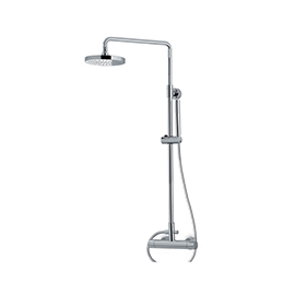 Shower pillar with exposed thermostatic  mixer