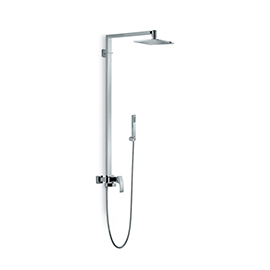 Shower pillar with exposed mixer