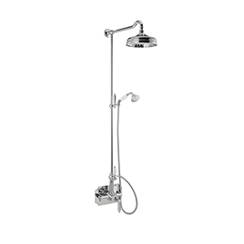 Shower pillar with exposed coaxial thermostatic mixer