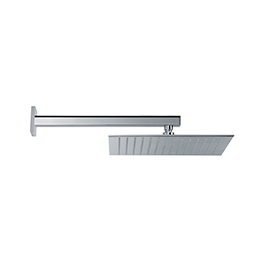 Stainless steel squared wall head shower with raining jet
