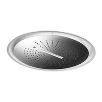 Stainless steel round concealed head shower with raining jet, waterfall jet and integrated multicolor lighting system.