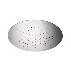 Stainless steel round concealed head shower with raining jet.