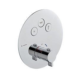 Three ways out thermostatic concealed mixer with one handle for temperature control and buttons ON/OFF.